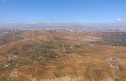 View over Litani Valley, South Lebanon. View over Litani Valley in South Lebanon showing the town of Marjoyoun and Mount Hermon Royalty Free Stock Photo