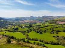 View over Llangedwyn valley with fields and meadows Royalty Free Stock Photo