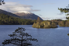 View over Loch an Eilein showing its island with a castle ruin a Royalty Free Stock Photos