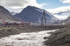 View over Longyearbyen, Svalbard, Norway Royalty Free Stock Photos