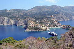 View over looking Assos, Kefalonia,Greece. View over looking Assos, Kefalonia, Greece with boat in harbour Royalty Free Stock Images