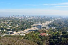 View over Los Angeles toward Century City. District and San Diego freeway Stock Photo