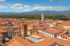 View over Lucca, Tuscany town Royalty Free Stock Images