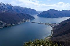 View over Lugano Lake - Switzerland Stock Photo