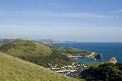 View over Lulworth Cove, Dorset ,England. Taken from the surrounding hills Stock Images