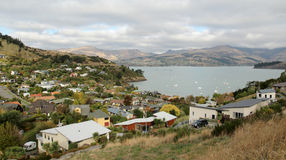 View over Lyttelton, New Zealand stock photo