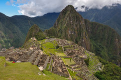 View over Machu Picchu Inca ruins, Peru.  royalty free stock images