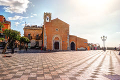 View over the main square in Taormina Stock Photo