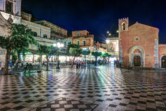 View over the main square in Taormina Stock Images