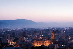 View over Malaga at evening Andalusia Spain Stock Photo