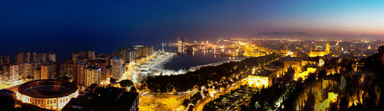 View over Malaga at night Andalusia Spain Stock Photography
