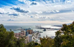 View over Malaga Port and Harbor Stock Images