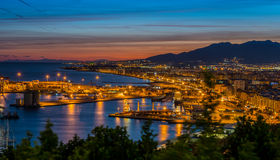 View over Malaga Port and Harbor at night Stock Images