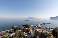 View over Marina and Bay of Naples, Sorrento, Neapolitan Riviera, Italy. Sorrento, Italy - June 13, 2017: View over Marina and Bay of Naples, Sorrento stock images