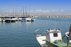 View over marina with boats and yachts in spain Stock Photos