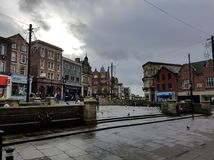 Market Square, Wigan Town Centre. The view over Market Square in Wigan on a dull cloudy day Royalty Free Stock Image