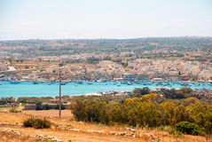View over Marsaxlokk bay, Malta Stock Photo