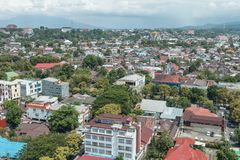 View over Medan city, Sulawesi, Indonesia. View over Medan city, the capital of North Sulawesi, on the island of Sulawesi, Indonesia Royalty Free Stock Photography