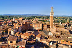 View over medieval Siena. Aerial view over the medieval city of Siena, Italy including Il Campo Stock Photography