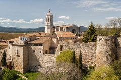 A view over medieval town of Girona, Catalonia Royalty Free Stock Photo