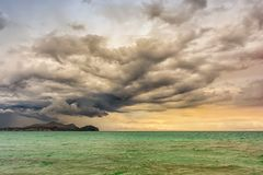 Strong thunderstorm on the beach of Mallorca stock photography