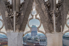 View over Milan from the top of the gothic cathedral Duomo di Mi Royalty Free Stock Photo