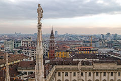 View over Milan from the top of the Milan Cathedral, Italy Royalty Free Stock Image
