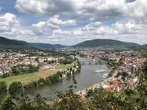 View over Miltenberg with the Main in the center royalty free stock photography