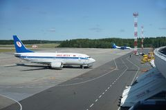 A view over Minsk-2 airport. A view over Minsk-2 airport with Belavia plane on the left Stock Images