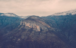 View over misty montain rock in the Moraca river canyon, north Montenegro Royalty Free Stock Images