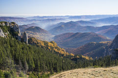 View over misty valley Stock Photography