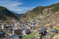 A view over modern buildings of Encamp town Stock Images