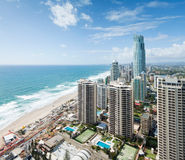 View over the modern city during the day. With ocean beside (gold coast stock images
