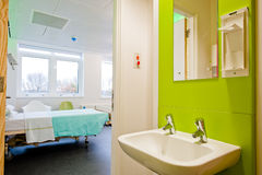 View over a modern hospital room stock images