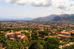 View over Monreale. Summer Landscape of Sicily and Cityscape of Palermo, shot from Monreale Stock Image