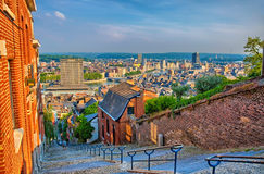 View over montagne de beuren stairway with red brick houses in L Royalty Free Stock Image
