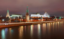 Night View over the Moskva River to the Kremling in Moscow at night. View over the Moskva River at night to the illuminated Kremling in Moscow stock photography