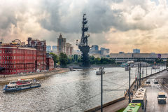 View over Moskva River and Peter the Great Statue, Moscow Stock Photos