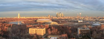 View over the Moskva River to the city of Moscow with the Luzhniki Stadium. Morning view over the Moskva River to the city of Moscow with the Stadium Luzhniki stock photo
