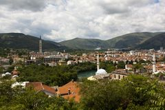View over Mostar, Bosnia and Hercegovina Royalty Free Stock Photo