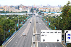 View over motorway to the center of moscow Stock Photography