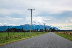 View over Mount Hutt from Methven village, Canterbury, South Island, New Zealand stock photo