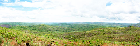 View over the Mountains in Malawi. Deforestation - View over the Mountains in Malawi, Central Africa Stock Photo