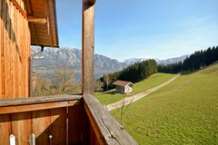 View over the mountains to lake Attersee - Farm holidays, Salzburger Land - Alps Austria Stock Photos