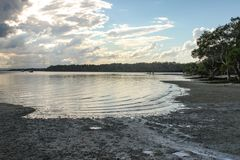 View over mud flats on Bribie Island over Pumicestone Passage in Queensland Australia royalty free stock photo