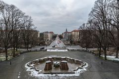 View over Munich with a bridge in the foreground. With some snow Royalty Free Stock Photography