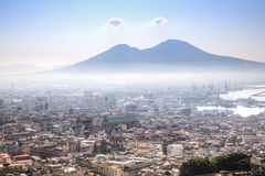 View over Naples with the Vesuvius Stock Images