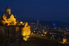 Night scene over Narikala Castle, in Tbilisi, Georgia. Royalty Free Stock Images