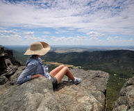 View Over National Park. Woman viewing from lookout at Grampians National Park Royalty Free Stock Photography