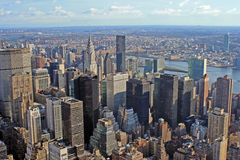 View over New York skyline. By day seen from Rockefeller center Royalty Free Stock Photo